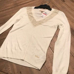 NWT cream/gold Michael Kors vneck sweater pullover